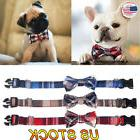 Dog Collar Bow Tie Plaid Style Pet Adjustable Puppy Cat Leat