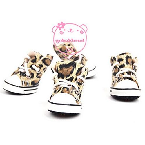 Ranphy Dog for Female Male Lace up Leopard Sneaker Brown L