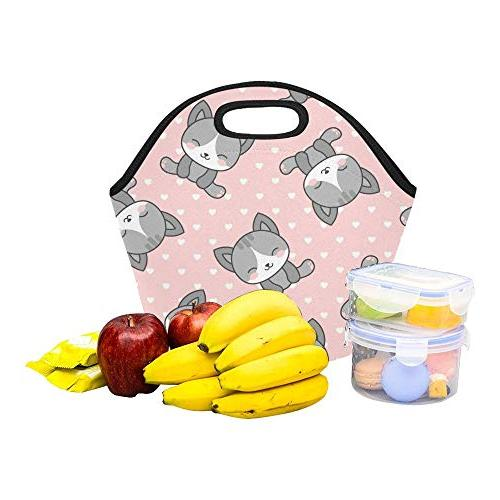 Insulated Neoprene Bag Cute Heart Large Reusable Thermal Thick For Lunch Boxes For Outdoors,work, Office,