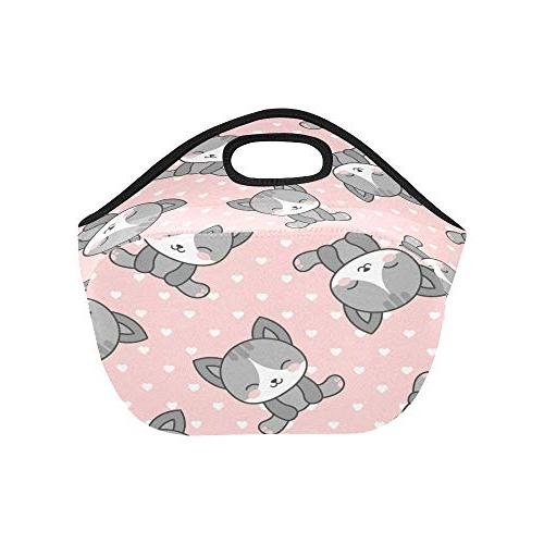 Insulated Neoprene Lunch Bag Cute Dots Large Thick For Boxes Outdoors,work, Office, School