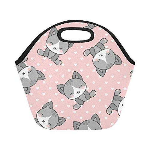 Insulated Cute Cats Large Size Thick Lunch Tote Bags For Lunch Outdoors,work,