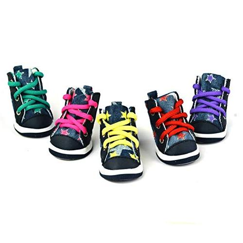 Adarl Lace-up Sneakers Pet Star Printed Winter Warm Shoes Purple/XL