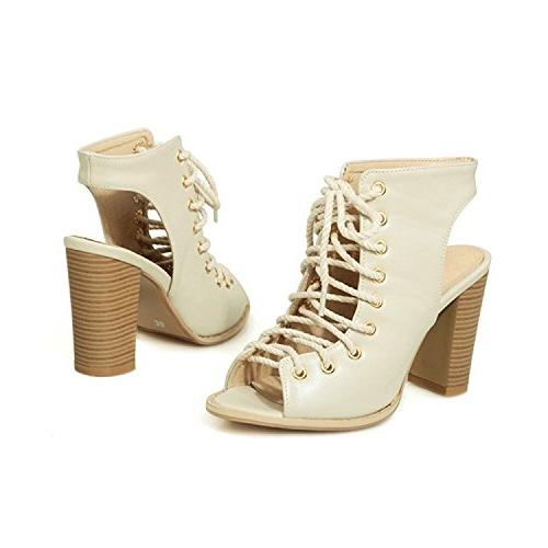 Sanksk Lace Stacked Heel B Charming