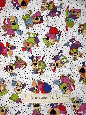 Loralie Puppy Animal White Cotton Fabric By The