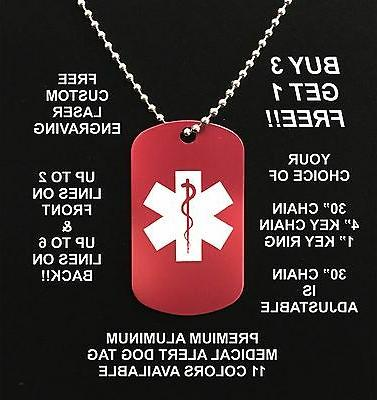 medical alert aluminum dog tag necklace free