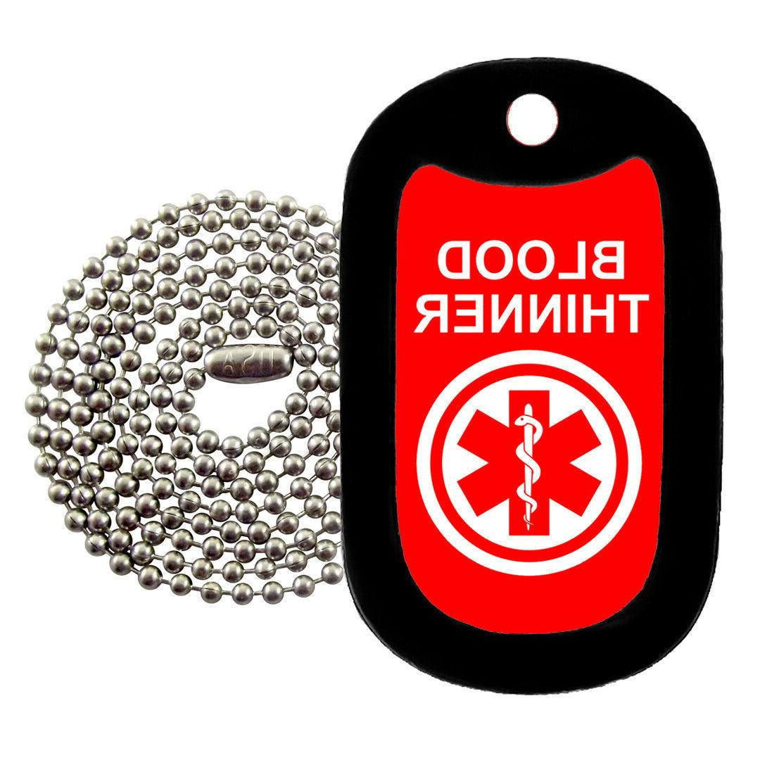 medical alert blood thinner necklace tag z