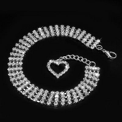 Necklace for Rhinestone collar with Heart Dogs