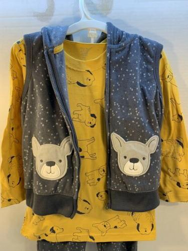 NEW Baby Fleece Puppy Dog Piece Outfit Shirt Vest