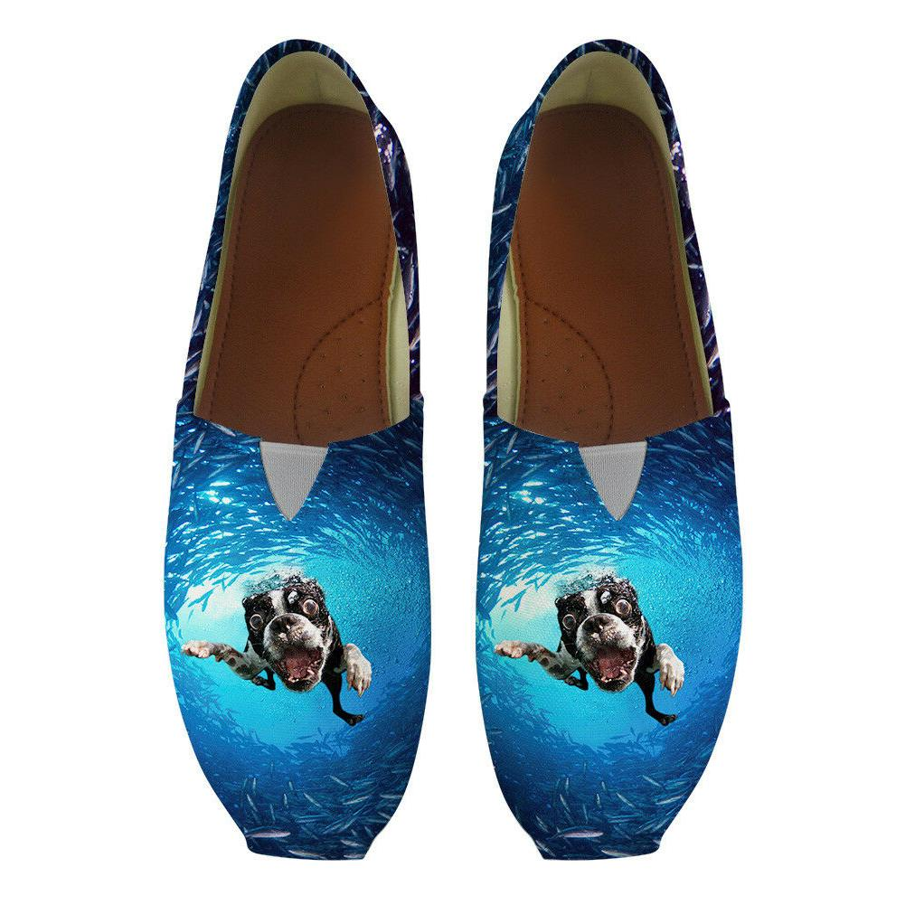 Shoes Blue Pattern Driving Girls Lady