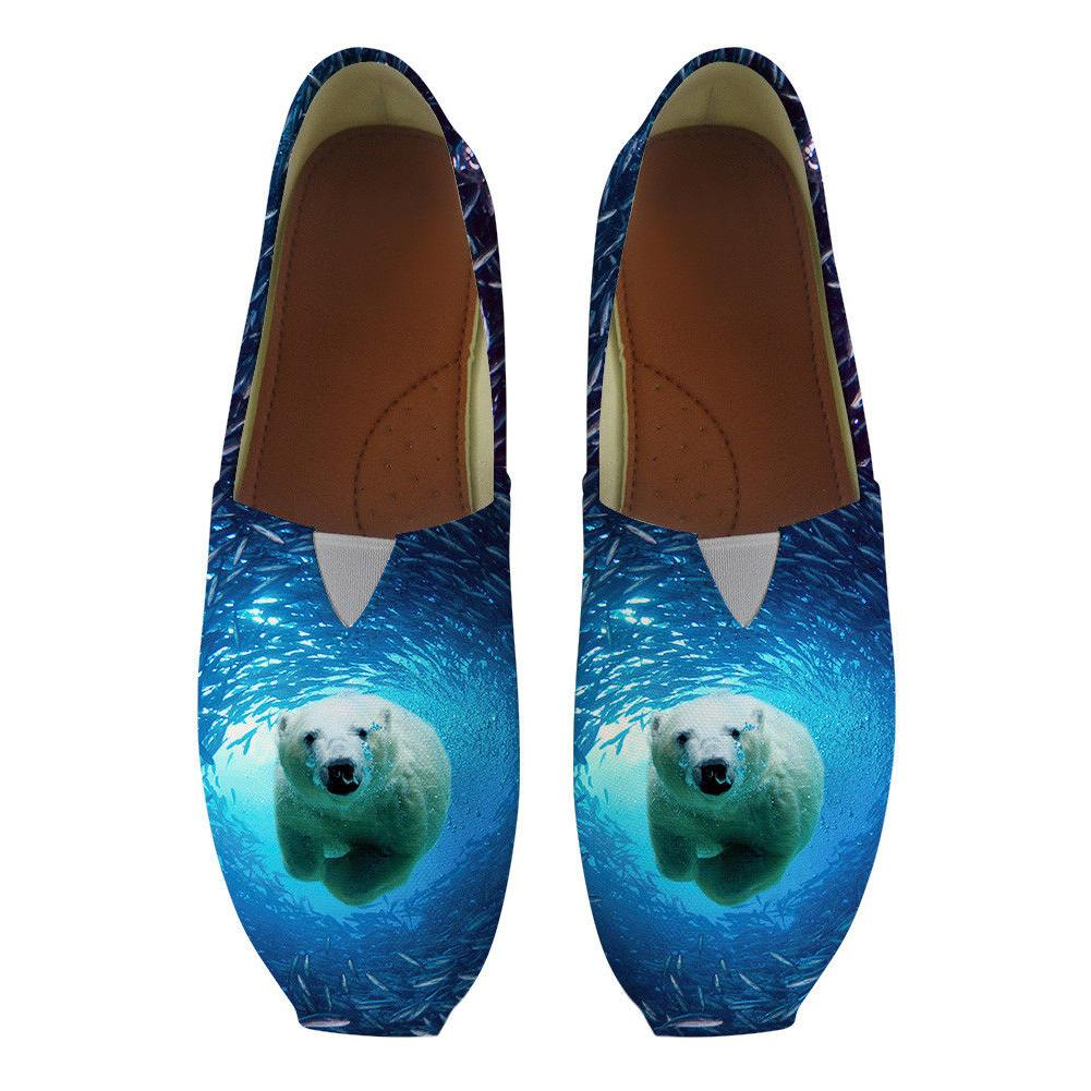 ocean style women flats shoes blue pattern
