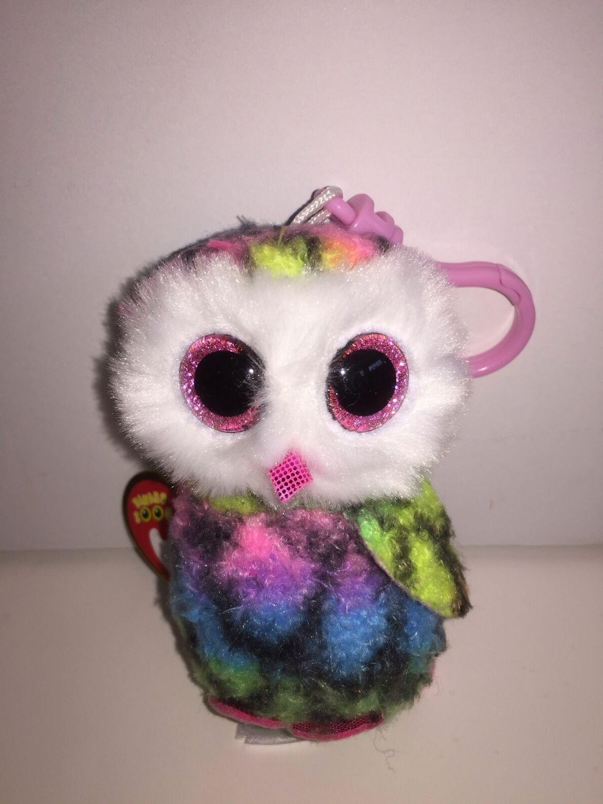 TY OWEN COLORFUL OWL BEANIE BOOS KEY CLIP,NEW W/TAG-SUPER CU