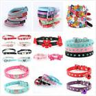 Pet Dog Cat Leather Collar Rhinestone Adjustable Puppy Bowkn