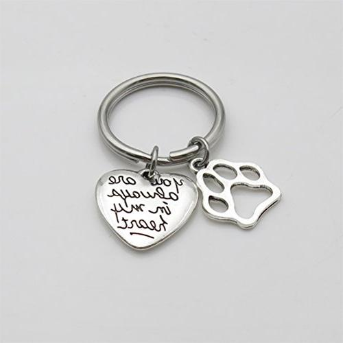 Pet Dog Memorial Keychain You In My Heart Pet Sympathy Gift