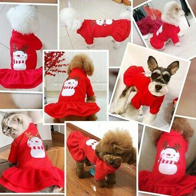 Pet Dress Cute Apparel Christmas Outfit Warm Clothes