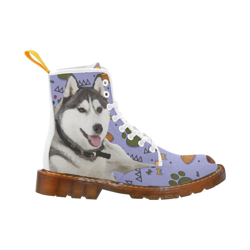 Siberian Husky Dog Shoes Lace Up Boots Martin Boots