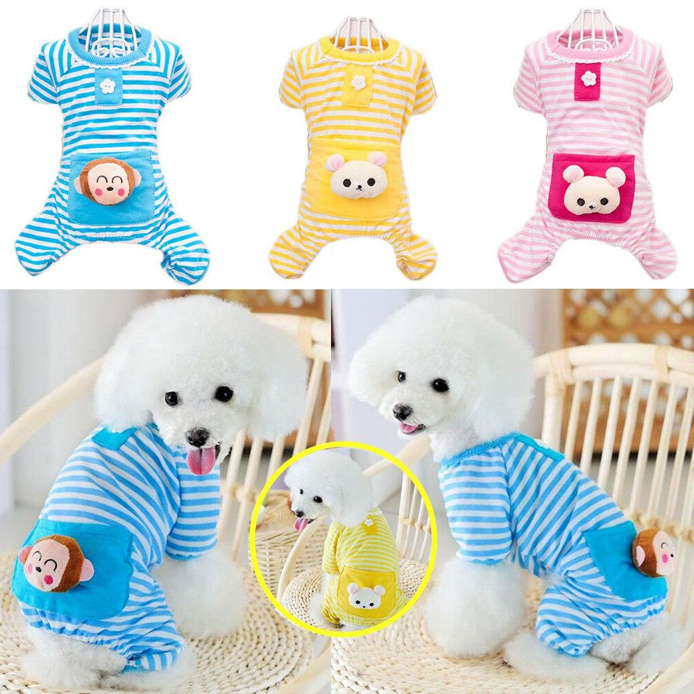 stripe jumpsuit pajamas pet bear clothes dog