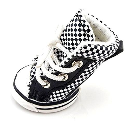 SMALLLEE_LUCKY_STORE Boys Plaid Canvas Sneaker Booties, Black/White