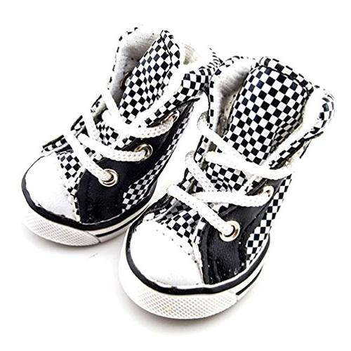 SMALLLEE_LUCKY_STORE Plaid up Sneaker Booties, Black/White