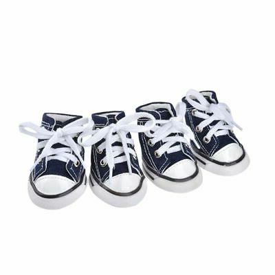 US 4pcs Pet Anti-slip Shoes Denim For Small Dogs