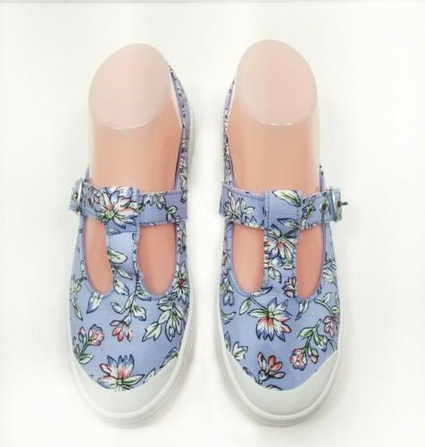 womens canvas mary jane blue floral shoes