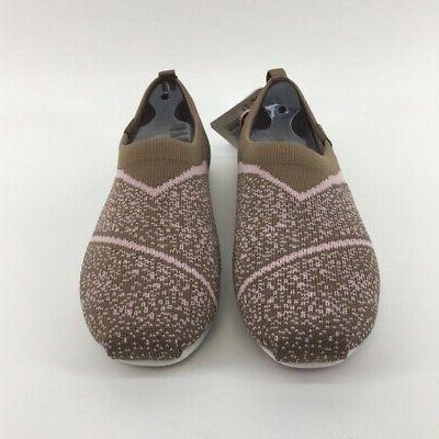 womens comfort flat shoes brown knit memory