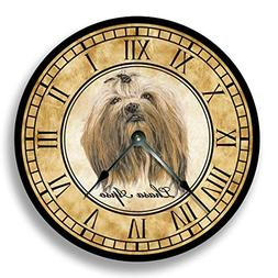 Fancy This Lhasa Apso Dog Wall Clock Antique Decor