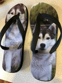 NEWAdorable HUSKY flip flops Size Small   FOR THE REAL DOG