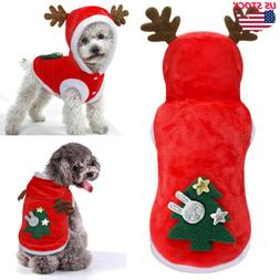 Pet Christmas Sweater Warm Furry Elk Puppy Clothes Xmas Cost