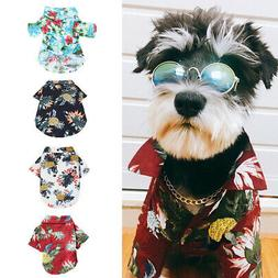 Pet Dog Hawaiian Shirt Beach Clothes Vest Floral Printed Top