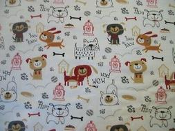 Playful Sketch Pups Snuggle Cotton Flannel Fabric BTY Puppy