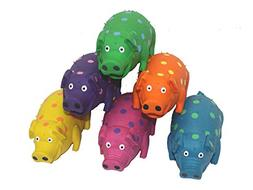 Multipet's 9-Inch Latex Polka Dot Globlet Pig Dog Toy, Assor