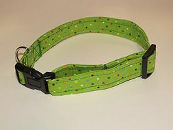 Rainbow Dots-Green Handmade Dog Collar Adjustable Design for