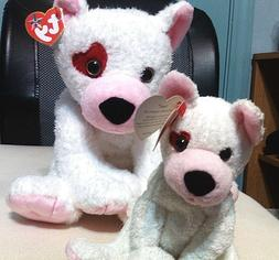 RARE Ty Beanie & Buddy Duo CUPID, White/Pink Dogs for Valent