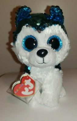 "Ty FLIPPABLES ~ SLUSH Husky Dog Changing Sequins 6"" Beanie B"