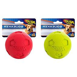 Nerf Dog  Soccer Squeak Ball Dog Toy, Red/Green, Large