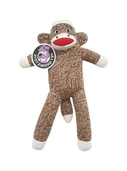 Pet Qwerks Sock Monkey Plush Interactive Dog Toy with Squeak