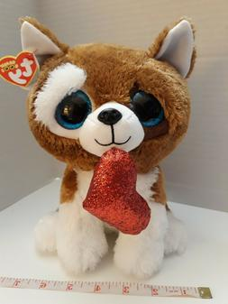 "soft stuffed animal toy large medium 9"" TY DOG PLUSH HEART l"