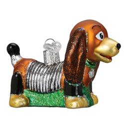 Old WOrld Christmas Toy Coil Dog pull Toy Glass Ornament sli