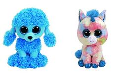 "TY Beanie Boos 6"" Blitz the Unicorn and Mandy the Blue Poodl"