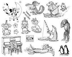 Unmounted Stamp Sheet, Penguin, Cats, Dog, Cow, Humorous Ani