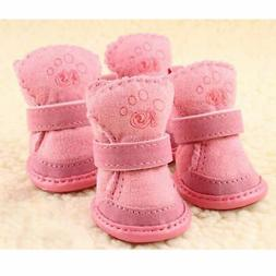 Warm Winter Pet Dog Boots Puppy Shoes For Small Dog Pink SIZ
