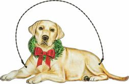 Yellow Lab Wooden Holiday Bow Ornament